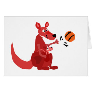 YY- Kangaroo Mother and Baby with Basketball Greeting Card