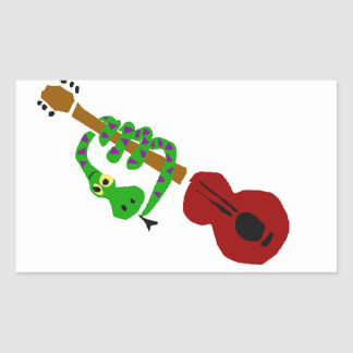 YY- Snake and Guitar Cartoon Rectangle Sticker