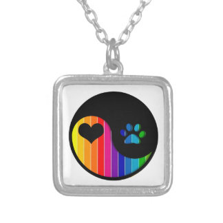 YYP_Dog_RainbowThickStripe Silver Plated Necklace