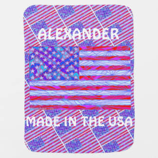 Z American Flag Made In The USA Custom Baby Fun Baby Blanket