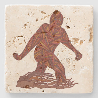 Z Bigfoot Walking Sasquatch For The Big Party Stone Beverage Coaster