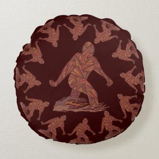 Z Bigfoot Walking Sasquatch Round Pattern Round Cushion