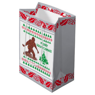 Z Bigfoot Walking Sasquatch Silver Red Funny Medium Gift Bag