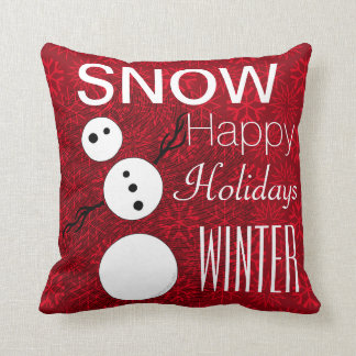 Z Black And White Snowman On Red Christmas Holiday Cushion