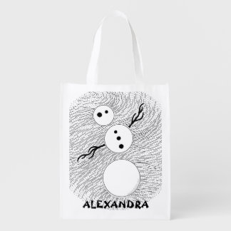 Z Black And White Snowman Personalized Reusable Grocery Bag