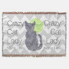 Z Black Cat And The Moon Cat Lover Crazy Cat Lady Throw Blanket