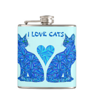 Z Blue Abstract Sitting Cat I Love Cats Cat Lover Hip Flask