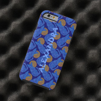 Z Blue Cat And The Moon Cat Lover Pattern Tough iPhone 6 Case