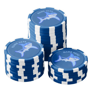Z Blue Great White Shark Colorful Sea Animal Poker Chips