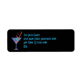 Z Blue Happy Hour Colorful Cocktail Martini Return Address Label