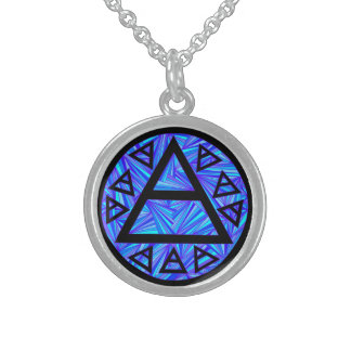 Z Blue Mystical Platos Air Sign New Age Triad Sterling Silver Necklace