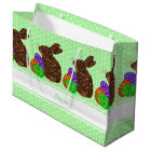 Z Brown Easter Bunny Colourful Personalised Large Gift Bag