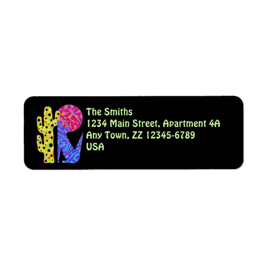 Z Colourful Blue Coyote Wolf Art Return Address Label