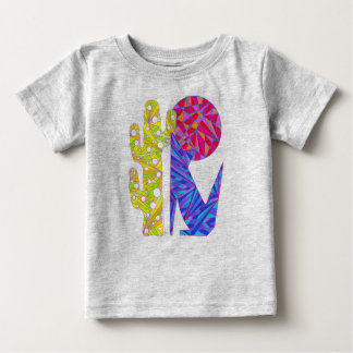 Z Cute Blue Coyote Cactus And Moon Art T-Shirt