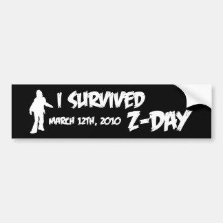 Z-Day Bumper Sticker (White-on-Black)