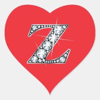 """""""Z"""" Diamond Bling on Red Heart Sticker"""