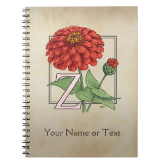 Z for Zinnia Flower Alphabet Monogram Note Books