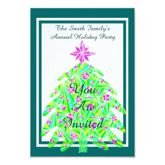 Z Green Abstract Tree Christmas Holiday Party Card