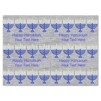 Z Hanukkah Dark Blue Menorah Faux Silver Festive Tissue Paper