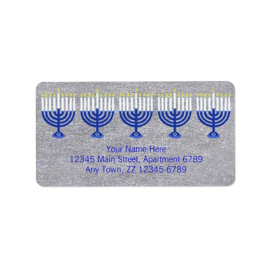Z Hanukkah Dark Blue Menorah On Faux Silver Bling Address Label