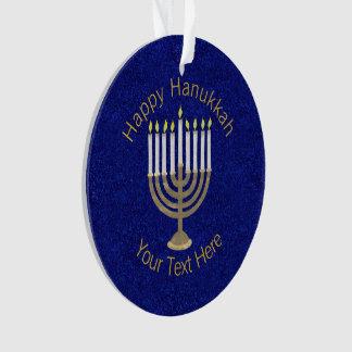 Z Hanukkah Gold Menorah Elegant Chrismukkah Ornament