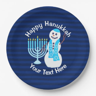 Z Hanukkah Jewish Snowman And Blue Menorah Party Paper Plate