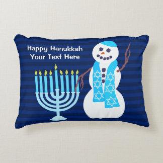 Z Hanukkah Jewish Snowman Blue Menorah Holiday Decorative Cushion
