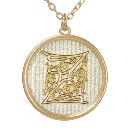 "Z Initial Monogram ""Gold Pin Stripe"" Necklace Pendants"