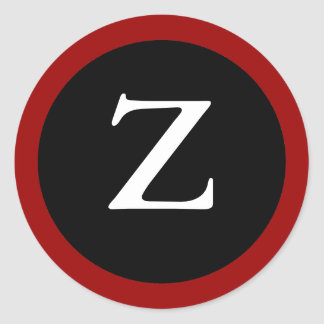 Z : Initial Z / Letter Z Modern Red Black Stickers