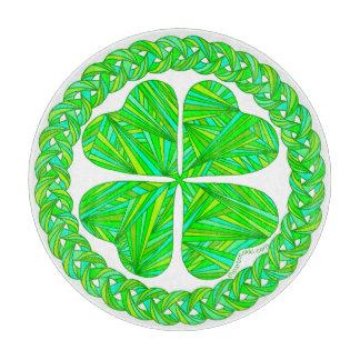 Z Lucky 4 Leaf Clover Celtic Shamrock Green Irish Cutting Board