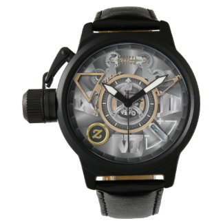 Z Men's Crown Protector Black Leather Strap Watch