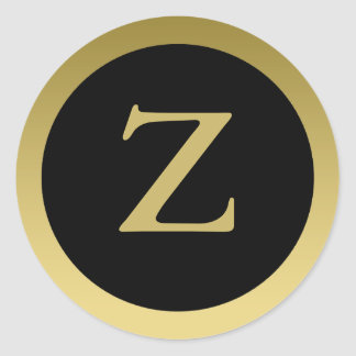 Z :: Monogram Z Elegant Gold and Black Stickers