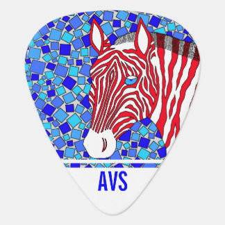 Z Patriotic Zebra Red White And Blue Mosaic Plectrum