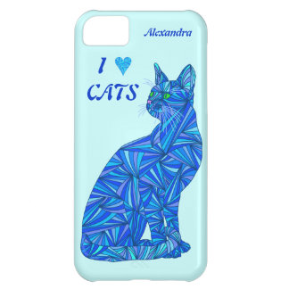 Z Personalize This Fun I Love Cats Blue Cat iPhone 5C Case