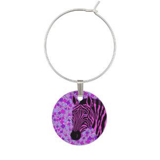 Z Pink And Black Zebra Wine Glass Jewelry Wine Charm