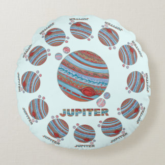 Z Planet Jupiter And Moons Colorful Space Geek Round Cushion