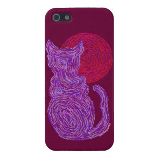 Z Purple Cat And The Moon SAVVY iphoneSE Cute iPhone 5 Case