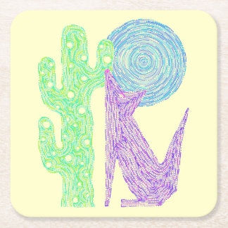 Z Purple Coyote Wolf Colorful Southwestern Design Square Paper Coaster