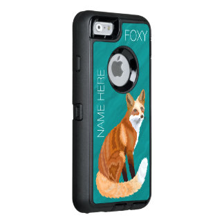 Z Red Fox Retro Style iphone6 Cute Foxy Add Name OtterBox Defender iPhone Case