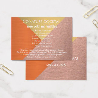 Z Rose Gold Copper Signature Wedding Drink Recipe Business Card