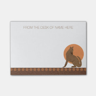 Z Rustic Coyote Southwest Leather Personalized Post-it Notes