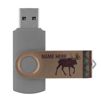 Z Rustic Moose Faux Leather-Look Office USB Flash Drive