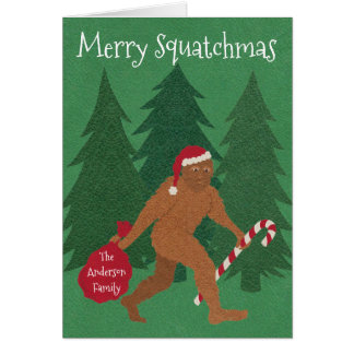 Z Santa Squatch Christmas Add Your Name Funny Card