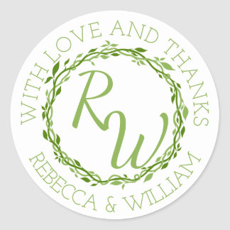 z Woodsy Elegance | Wedding Vine Thank You Favour Classic Round Sticker