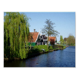 Zaanse Schans Dutch timber houses in green and red Poster