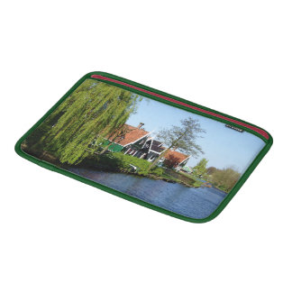 Zaanse Schans Dutch timber houses in green and red Sleeve For MacBook Air