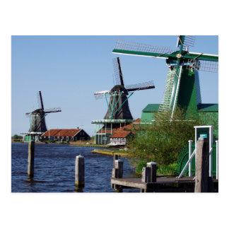 Zaanse Schans Dutch windmills in green and white Postcard
