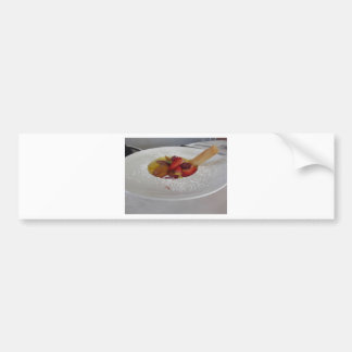 Zabaglione cream with fresh fruit and rolled wafer bumper sticker