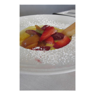 Zabaglione cream with fresh fruit and rolled wafer customized stationery