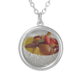 Zabaglione cream with fresh fruit and rolled wafer silver plated necklace